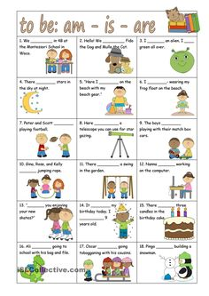 To be: am - is -are worksheet - Free ESL printable worksheets made by teachers Grammar For Kids, Teaching English Grammar, Grammar Lessons, English Language Learning, English Vocabulary, English Worksheets For Kids, English Lessons For Kids, Kids English, Grammar Activities