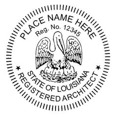 Louisiana Architect Seals Embossing Seal Or Stamp   Size 1 3/4. A.  Registered ...