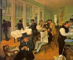 """""""New Orleans Cotton Exchange"""" (""""Portraits in an Office"""") is the only known painting of a post Civil War workplace."""