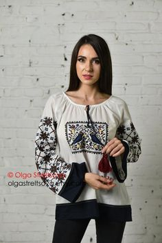 This vyshyvanka is very light blouse with ethnic style embroidery which embodies the summer mood, and square embroidery with birds. In this birds blouse, I tried to combine the geometric pattern on the sleeves with square embroidery on the front. A dark blue cambric perfectly emphasizes the contrast Ethnic Fashion, Boho Fashion, Autumn Fashion, White Peasant Blouse, Bohemian Blouses, Embroidered Blouse, Embroidered Flowers, Pin Up Dresses, Blouses For Women