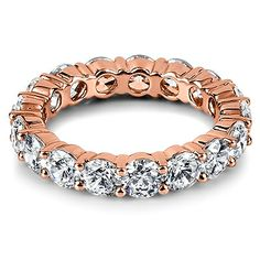 18ct Rose Gold brilliant cut diamond full eternity ring, 4mm band width from Hatton Jewels