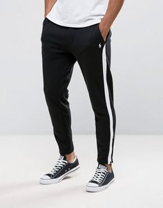 Get this Polo Ralph Lauren s joggers now! Click for more details. Worldwide  shipping. Polo Ralph Lauren Joggers Zip Hem Slim Fit Contrast Detail in  Black ... 7d00684fe7ad