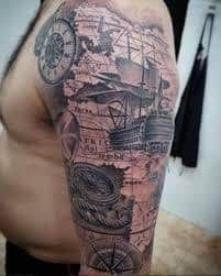 What does pirate tattoo mean? We have pirate tattoo ideas, designs, symbolism and we explain the meaning behind the tattoo. Tribal Tattoos, Navy Tattoos, Sailor Tattoos, Leg Tattoos, Body Art Tattoos, Ship Tattoos, Nautical Tattoos, Henna Tattoos, Easy Half Sleeve Tattoos