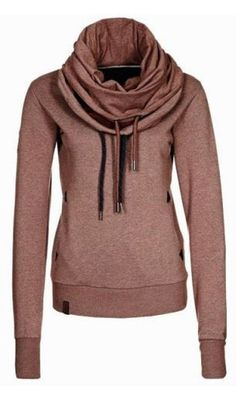 Unique Cowl Neck Hoodie Fashion! Plum Raisin Stylish Cowl Neck Long Sleeve Solid Color Women's Sweatshirt #Plum #Raisin #Cowl #Neck #Hoodie #Sweatshirt #Fall #Fashion #Trends