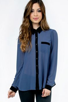 Cassie Button Up Pocket Blouse $54 at www.tobi.com