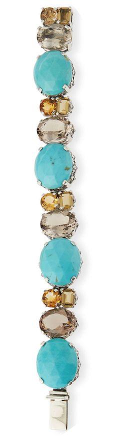 Stephen Dweck Turquoise & Quartz Link Bracelet Turquoise Accessories, Shades Of Turquoise, Turquoise Jewelry, Turquoise Bracelet, Jewelry Accessories, Aqua Blue, Clay Jewelry, Stone Jewelry, Baubles And Beads
