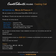 #CreateTalentsPteLtd is looking for #Caucasian #male & #female (22-30years old) for #Cigarette TVC.   Shoot Dates: First week of May  Casting Dates: 30th April 2016-5th May 2016  Hurry and grab the chance!  To be Model: enquiries@createtalentsandmodels.com Reach us now at 6339 3211  #createtalents #modelagency #castingcall #modelling #singapore