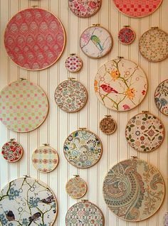 idea for fabric scraps, great sewing room decor.