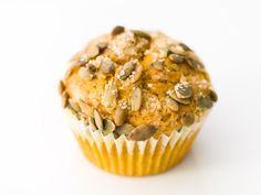 Pumpkin Muffins | Serious Eats : Recipes Recipe uses weight measurements in grams (easier/more accurate) and has candied pepitas on top.