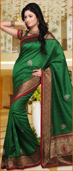 Green Art Ghitcha #SilkSaree With Blouse @ $117.10