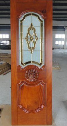 wood door with Decorative glass Modern Wooden Doors, Wooden Door Design, Main Door Design, Tv Wall Design, Etched Glass Door, Steel Gate Design, Pooja Room Door Design, Door Molding, Wood Front Doors