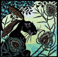 Kerry Tremlett, Hare in the Teasels | Original Linocut/Artifex | Contemporary British Art | Etchings and Linocuts