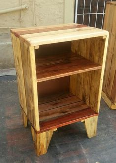 Just finished varnishing this cupboard, made out of old pallet wood.