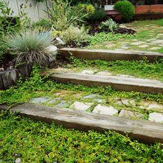 YUKiさんの、枕木の階段,グランドカバー,NO GREEN NO…