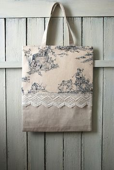 Shabby French book Tote, French tote bag, blue toile de Jouy, vintage linen, antique lace, handmade in France / French bag, shabby chic