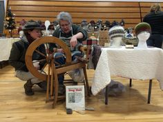Spinning chiengora hats, WSE's 2015 Holiday Farmers Market