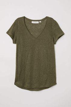 H&M Linen Top - Dark khaki green - Women Linen Tshirts, T Shirts, White Linen Shirt, Going Out Tops, Fashion Tips For Women, Crop Tops, My Style, Dark Khaki, Khaki Green