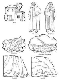 Wise and Foolish Builders Coloring Page New This Girl Loves to Talk Fhe Lesson Wise Man and Foolish Man Bible Story Crafts, Bible School Crafts, Preschool Bible, Bible Activities, Sunday School Crafts, Bible Stories, Parables Of Jesus, Flannel Board Stories, Bible Coloring Pages