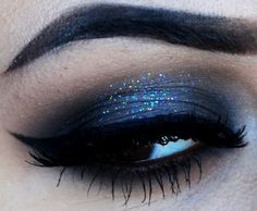 Smokey glittery eye makeup
