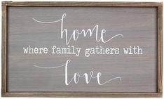 'Family Gathers With Love' Wall Sign, Rustic Home Decor, Wall Art #affiliate #wallsigns #farmhouse