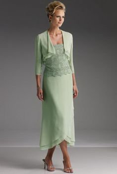 mother of the bride dresses tea length | Chiffon and Satin V-Neck ...