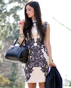 LOVE BEIGE AND BLACK FLORAL SLEEVELESS LACE PRINT BODYCON DRESS