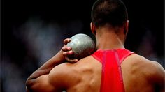 Ashton Eaton of the United States competes in the men's Decathlon shot put on Day 12 of the London 2012 Olympic Games at theOlympic Stadium.