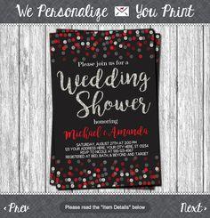confetti wedding shower invitation in black red and silver
