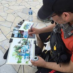 Sketching the blue mosque with Marc who is using his growing shapes technique rather than tea milk honey due to the intense humidity. We are all finding that we have to adapt some aspect of our sketching for the intense conditions. | Flickr - Photo Sharing!