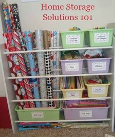 Several great ideas for storing wrapping paper and related items.