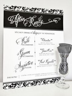 Damask Attitude Drink Menu in Black and White by Dandelion Willows Invitations + Stationery Bar Menu, Drink Menu, Newlyweds, Damask, Attitude, Dandelion, Stationery, Invitations, Sign