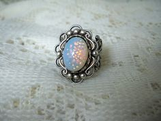 White Opal Ring - Vintage Style
