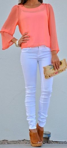 Coral top with white pants