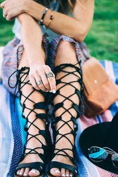 Headed to a music festival? Skip the heels in favor of dramatic lace up gladiator sandals! Not only are they flat, but they've got plenty of support—making them perfect for a day of dancing and walking around. See how blogger TheFashionHour.com styled the rest of her boho-fun look: http://www.thefashionhour.com/festival-style-target/