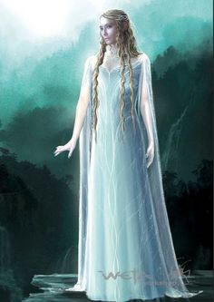 "Conceptual art for Galadriel in White Council gown from ""The Hobbit: An Unexpected Journey"" (2012). The long open lines of the sleeves now closely reflect the final costume created for filming."