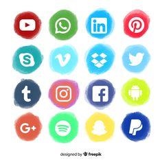 Réseaux sociaux logo collectio Vecteur gratuit Licence Lea, Monkey D Luffy, Sticker Design, Logos, Icon Design, Icons, Vector Free, Social Media, Graphic Design