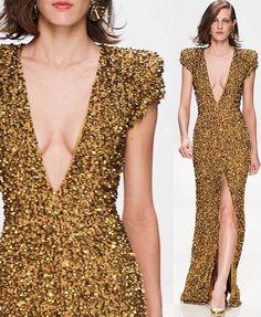 Gold elegance. #Fashion #WomenCouture #WomenFashion #LongDress #FashionTrends #HauteCouture
