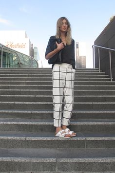 sportmax pants and birkenstocks