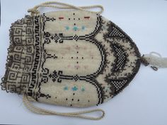 Victorian, Antique, Purse, Evening Bag, Beadwork, Beaded, Collectors, Beaded, Steampunk, Vintage, Micro Bead, Sead Bead, Cream by DecadentAndFabulous on Etsy