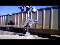 Slow BNSF train on railroad crossing