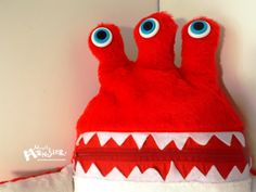 Cuddle Monster RED GLURP zipper mouth pillow by MostlyMonstersCV, $27.95