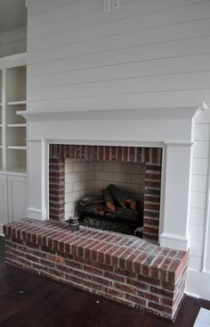 5 Wonderful Useful Ideas: Fireplace Decorations Tiny House open fireplace outdoor.Rock Fireplace With Bookshelves farmhouse fireplace laundry rooms.Rock Fireplace With Bookshelves. Fireplace Redo, White Shiplap Wall, Fireplace Design, Brick Fireplace Makeover, Farmhouse Fireplace, Brick Fireplace, White Shiplap, Fireplace, Fireplace Hearth