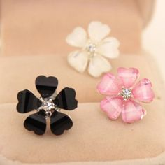 petal flower earrings So sweet looking. Adds a little touch to any outfit-  in package for boutique - there are 3 colors available - rubber backing down - mixed materials used Blushing Cheek Jewelry Earrings