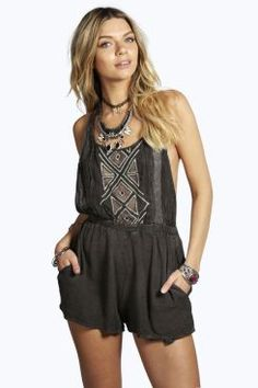 Ellie Washed & Embroidered Tie Back Playsuit at boohoo.com