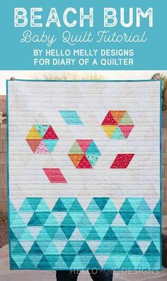 Beach Bum - Triangle Baby Quilt Tutorial | Diary of a Quilter - a quilt blog Baby Quilt Tutorials, Quilting Tutorials, Quilting Projects, Quilting Designs, Quilting Ideas, Quilting For Beginners, Beginner Quilting, Strip Quilts, Machine Quilting
