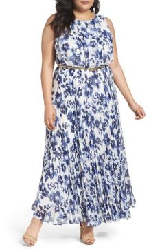 Free shipping and returns on Eliza J Belted Floral Maxi Dress (Plus Size) at Nordstrom.com. Bringing fresh sophistication to your spring social events, a pleated chiffon maxi features pretty inky-blue blossoms accented with the golden shimmer of a waist-slimming belt.
