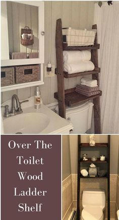 Add tons of storage space to your bathroom with this over the toilet ladder shelf! #affiliate #bathroomdecor #rustic #farmhouse