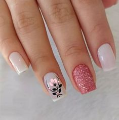 Awesome Glitter Nail Art Designs You'll Love Floral Nail Art, Pink Nail Art, Cute Acrylic Nails, Glitter Nail Art, Acrylic Nail Designs, Nail Art Designs, Nails Design, Design Art, Design Ideas