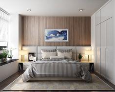 Scandinavian bedroom wood and grey colors