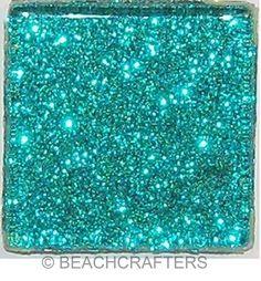 15 tiles - 1 inch AQUA Glitter Glass Mosaic Tiles